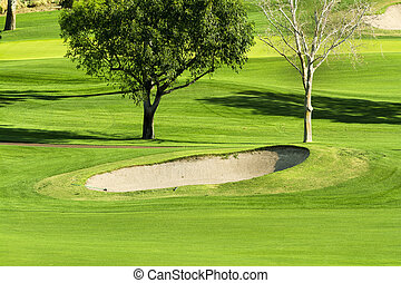 Vibrant golf course and sand trap - Early morning sunlight...