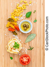 Italian food concept pasta with vegetables olive oil and...