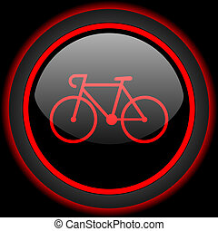 bicycle black and red glossy internet icon on black...