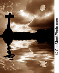 faith - cross silhouette and the sky with full moon