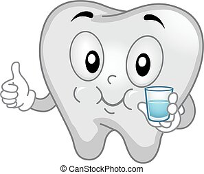 Tooth Mascot Mouthwash Thumbs Up - Mascot Illustration of a...