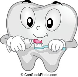 Tooth Mascot Spreading Toothpaste - Mascot Illustration of a...