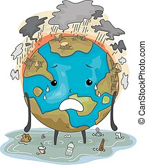 Earth Mascot Environmental Damage - Mascot Illustration...