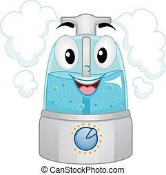Humidifier Mascot Filled with Water - Mascot Illustration of...