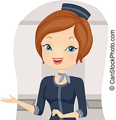 Girl Stewardess Welcome - Illustration of a Stewardess...