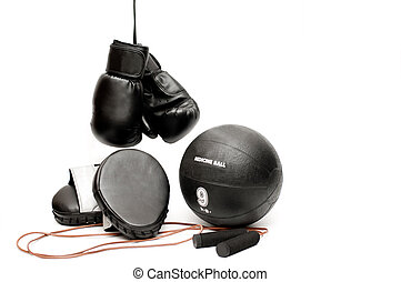 Boxing equipment - Boxing gloves, pads, jump rope and a...