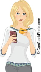 Girl Mobile Banking Credit Card