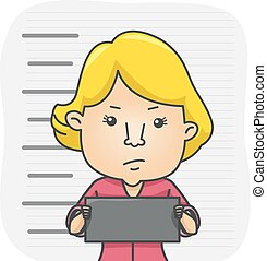Girl Mugshot Name Tag - Illustration of a Girl Holding a...