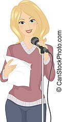 Girl Poetry Reading Mic - Illustration of a Girl Standing in...