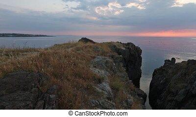 Sunrise Sea Coast Panorama. - The sky illuminated by rising...