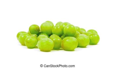 Pile Of Grapes Rotating On White - Pile of grapes rotate...