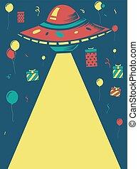 barco, cumpleaños, diseño, ovni, espacio
