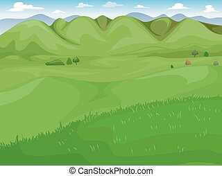 Green Grassland - Illustration of a Wide Expanse of Green...