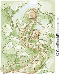 Doodle Houses Trees Bridge