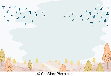 Migrating Birds Autumn - Illustration of a Group of Birds...