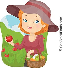 Girl Vegetable Tomato Harvest Basket - Illustration of a...