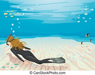 Girl Free Diving Seabed - Background Illustration of a...