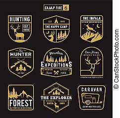 Set of camping outdoor and adventure gears badge logo,...