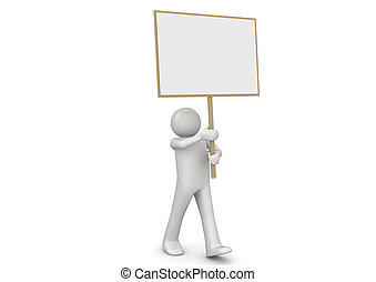 Man with banner - 3d characters isolated on white background...