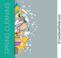 Spring cleaning vertical border background Cleaning supplies...