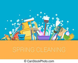 Spring cleaning background. Set of cleaning supplies. Tools...