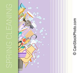 Spring cleaning vertical border background. Set of cleaning...