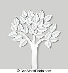 abstract illustration with tree made of paper with shadow. vector illustration