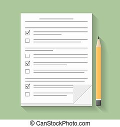 Survey or test concept, paper documents with check boxes and...