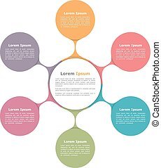 Circle Chart - Circle diagram with six elements, infographic...
