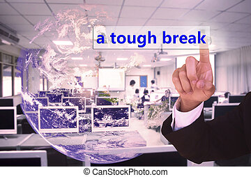 touching  a tough break on virtual screen vintage tone , image element furnished by NASA
