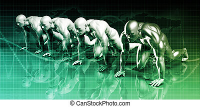Business Competition with People in a Row Starting Line
