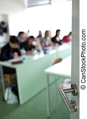 classroom full of students during class