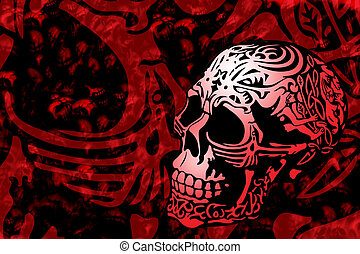 skull background - skull with a decorative carving