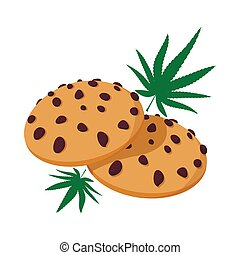 Chocolate chip cookies with marijuana lea icon in cartoon...