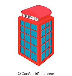 British red phone booth icon, cartoon style