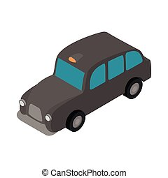 London black cab icon, isometric 3d style
