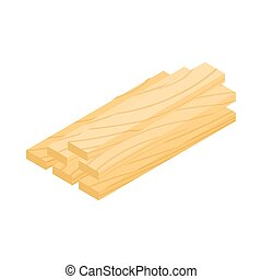 Wood planks icon, isometric 3d style - Wood planks icon in...