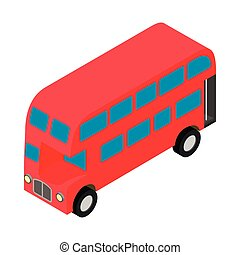 London double decker red busicon in isometric 3d style on a...