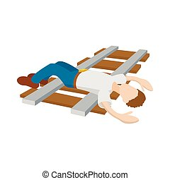 Suicide on a railway icon, cartoon style - Suicide on a...