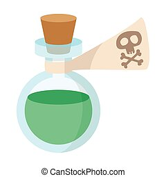 Glass bottle with poison icon, cartoon style