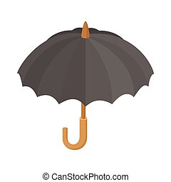 Black umbrella icon, cartoon style - Black umbrella icon in...