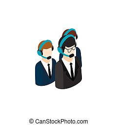 Call center operators group with headsets icon in isometric...