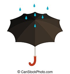 Black umbrella with rain icon, isometric 3d style - Black...