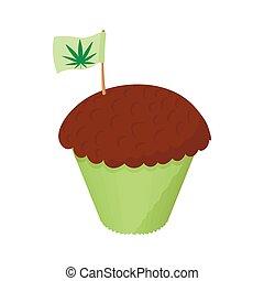 Cake with marijuana leaf icon, cartoon style