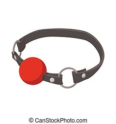Red ball gag with a belticon icon, cartoon style - Red ball...