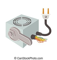 Computer repair icon, cartoon style
