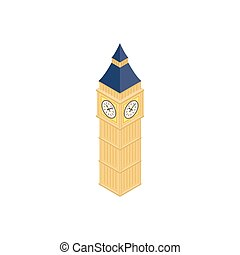 Big Ben in Westminster, London icon in isometric 3d style on...