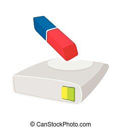 Harddisk cleaner icon, cartoon style - Harddisk cleaner icon...