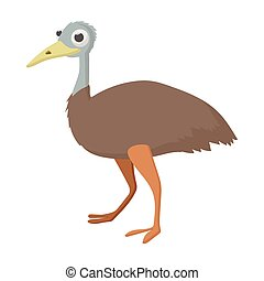 Emu icon, cartoon style - Emu icon in cartoon style on a...