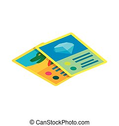 Children game cards icon, isometric 3d style